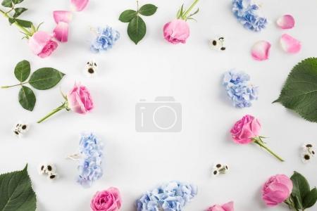 Photo pour Composition florale avec roses, fleurs d'hortensia et espace de copie, isolé sur blanc - image libre de droit