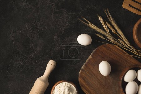 bakery ingredients and kitchen utensils