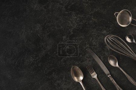 vintage silverware and baking utensils
