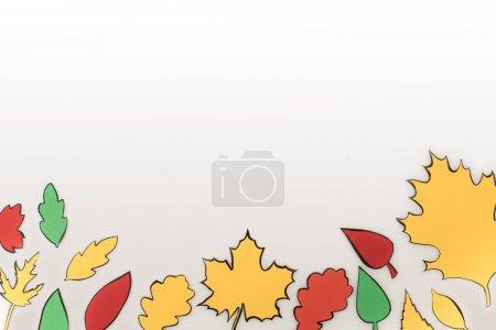Photo for Composition of drawn autumnal leaves isolated on white - Royalty Free Image