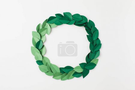 Photo for Round frame of green paper leaves isolated on white - Royalty Free Image