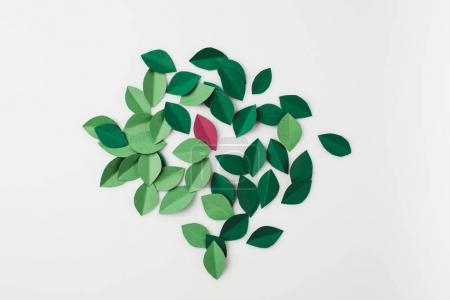 Photo for Heap of green paper leaves isolated on white - Royalty Free Image