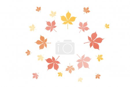 Photo for Round frame of autumnal chestnut leaves isolated on white - Royalty Free Image
