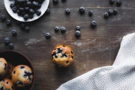 delicious cupcakes with blueberries