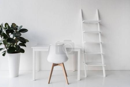 stylish white empty workplace
