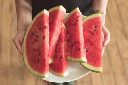 plate with watermelon slices