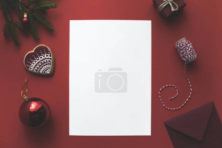 blank card with christmas decorations