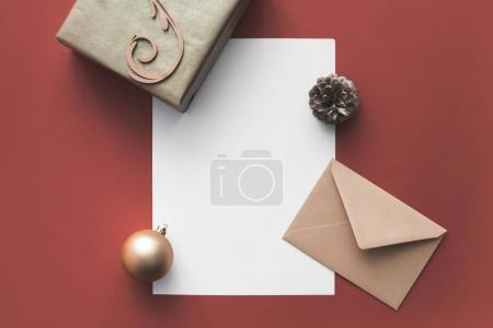 empty card with christmas decorations