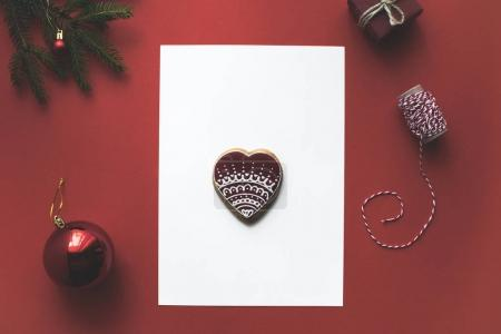 christmas card with gingerbread cookie