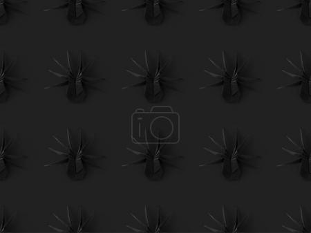 Halloween texture black origami spiders