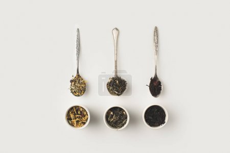 dry herbs in spoons and bowls