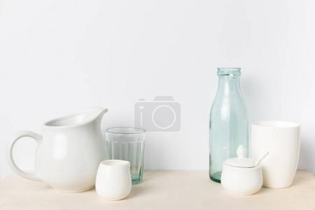 empty glass and ceramic utensils
