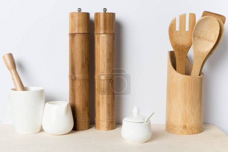 Photo for Various wooden, ceramic and bamboo kitchen utensils - Royalty Free Image