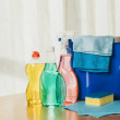 cleaning products and bucket