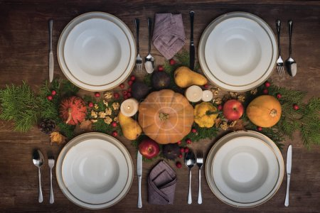 Served table with autumn harvest