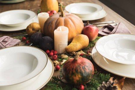 Served table and autumn harvest