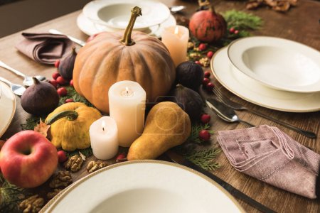 served table with autumn decor