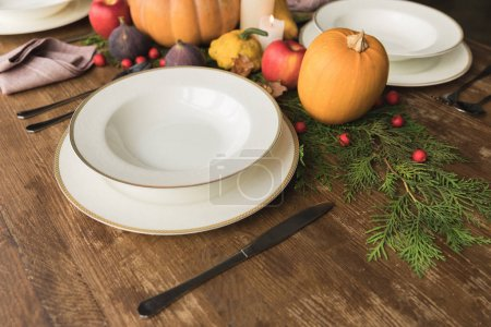 Photo for Close-up view of empty plates, cutlery and ripe pumpkins on rustic wooden table - Royalty Free Image