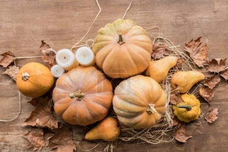 Autumn harvest and candles