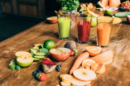 various smoothies in glasses