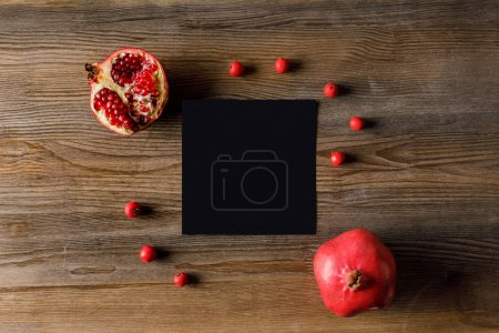 empty card with pomegranates