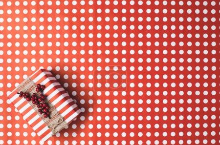 christmas gift on wrapping paper