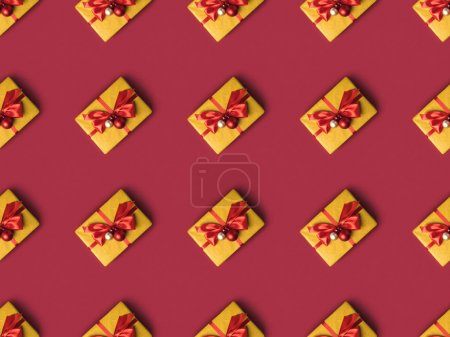 Photo for Full frame of wrapped presents decorated with christmas toys and ribbons - Royalty Free Image