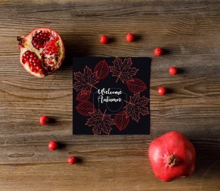 empty card with pomegranates