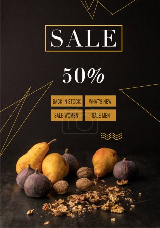 Photo for Still life with organic autumnal fruits and walnuts on wooden table, autumn sale concept - Royalty Free Image