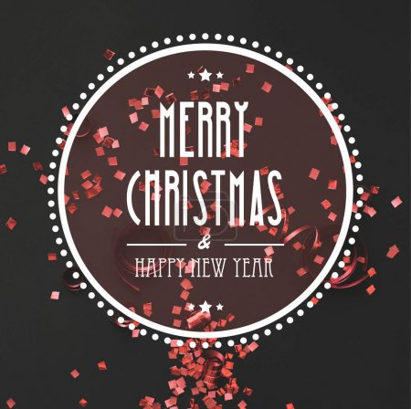Christmas greeting with red confetti