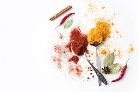 Spoons with paprika and curry
