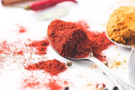 Photo pour Plan rapproché de cuillères avec paprika et curry isolé sur blanc - image libre de droit