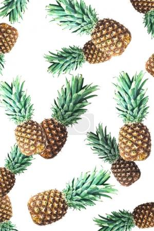 Photo for Close-up view of whole ripe fresh pineapples isolated on white - Royalty Free Image