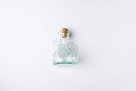 transparent glass bottle with cork