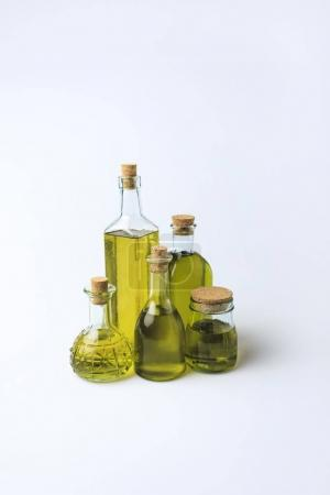 glass bottles with olive oil