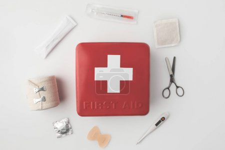 first-aid kit with medical supplies