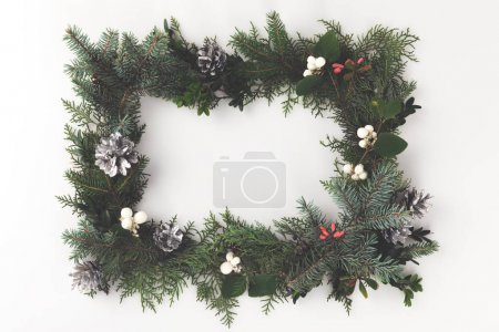 christmas frame with mistletoe and pine cones
