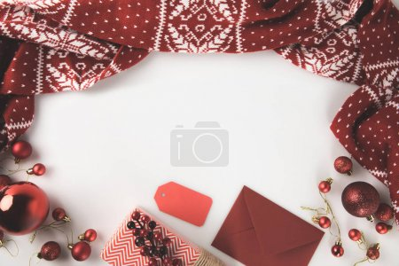 christmas present, scarf and envelope