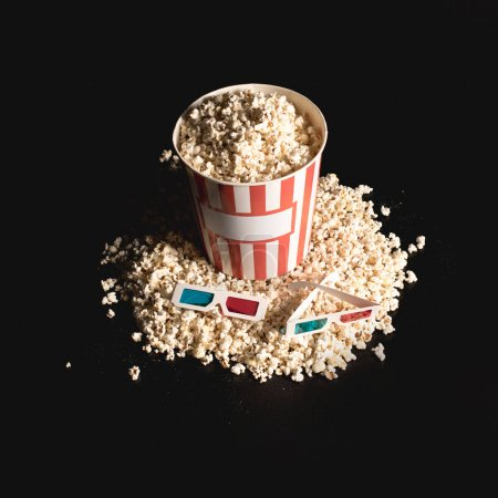 Box of popcorn with 3d glasses