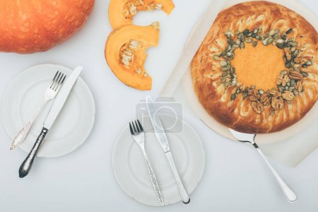 Pumkin pie with table setting