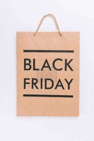 Photo for Close up view of shopping bag with black friday lettering isolated on white - Royalty Free Image