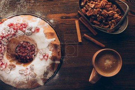 homemade christmas cake and coffee