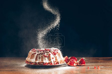 Photo for Traditional homemade christmas cake with pomegranate powdering with icing sugar - Royalty Free Image