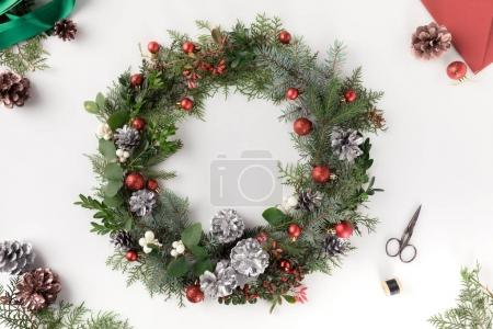 christmas wreath and envelope