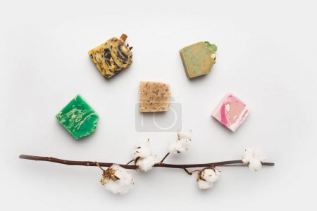 handcrafted soap with cotton branch