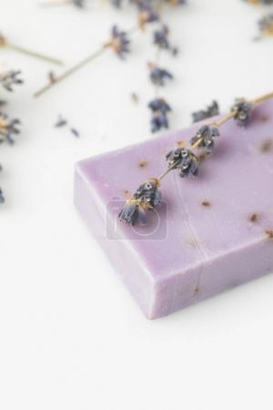 handcrafted soap with lavender flowers