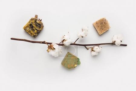 Photo pour Vue de dessus de différentes barres de savon artisanales et branche de coton sur surface blanche - image libre de droit