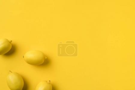 Photo for Top view on four ripe lemons isolated on yellow - Royalty Free Image