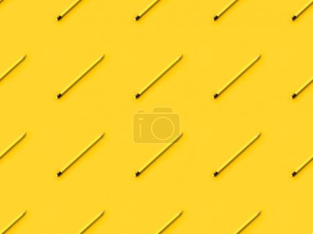 Photo for Set of Four colored pencils with erasers isolated on yellow - Royalty Free Image