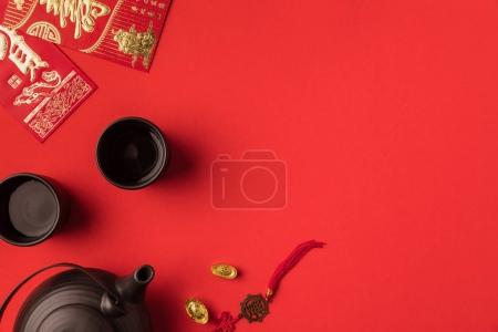 oriental decorations and tea set